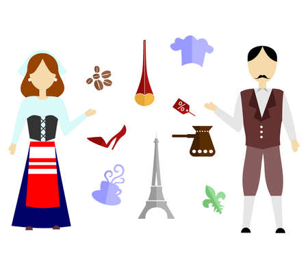 set of icons in the style of a flat design on the theme of france.