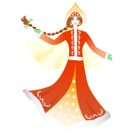 snow queen: illustration of a beautiful girl in winter clothes.