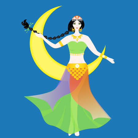 the illustration of a beautiful woman - oriental dancer.