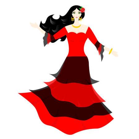 the illustration of a beautiful woman - flamenco dancer.