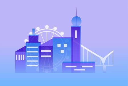 urbanized: illustration with urbanized city and its architecture. Illustration