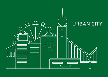 illustration with urbanized city and its architecture. Illustration