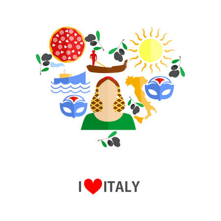 set of icons in the style of a flat design on the theme of italy. Illustration