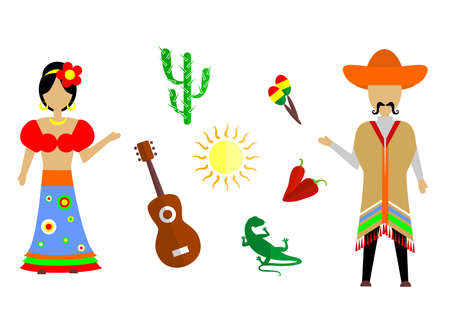 set of icons in the style of a flat design on the theme of mexico. Illustration