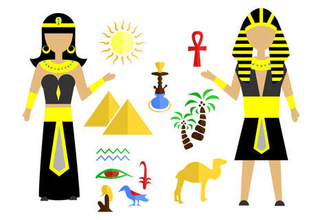 set in the style of a flat design on the theme of egypt.