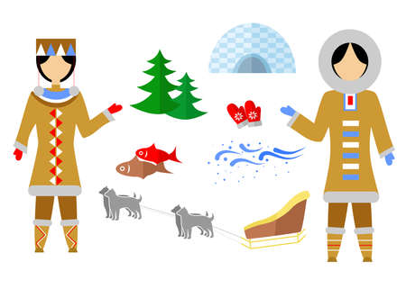 set in the style of a flat design on the theme of Eskimo. Illustration