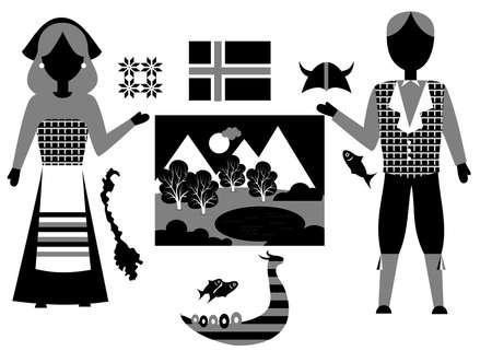 norway flag: the norway set Illustration