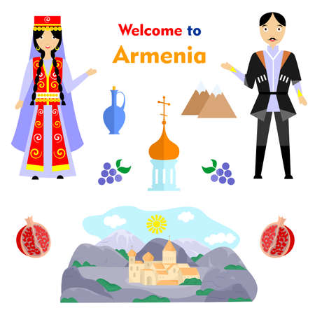 set in the style of a flat design on the theme of armenia.