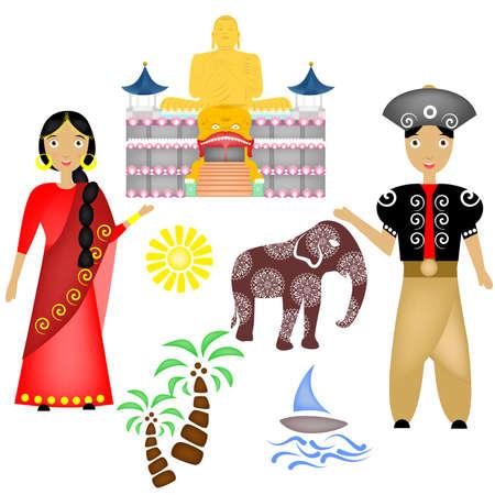 illustration in style of flat design on the theme of Sri Lanka. Illustration