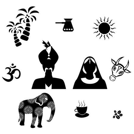 lady cow: set of icons in the style of a flat design on the theme of india.