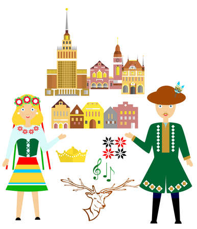 illustration in style of flat design on the theme of poland.