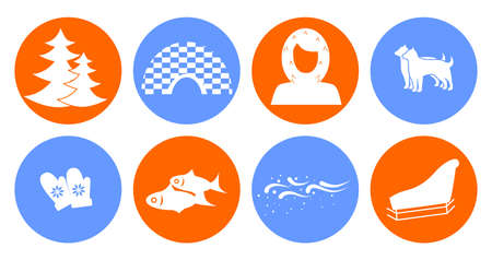 antarctic: set of icons in the style of a flat design on the theme of Eskimo. Illustration