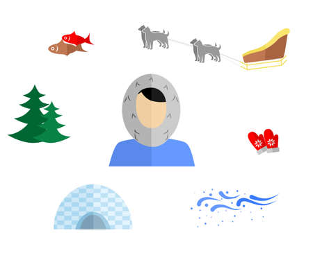 sledge dog: set of icons in the style of a flat design on the theme of Eskimo. Illustration