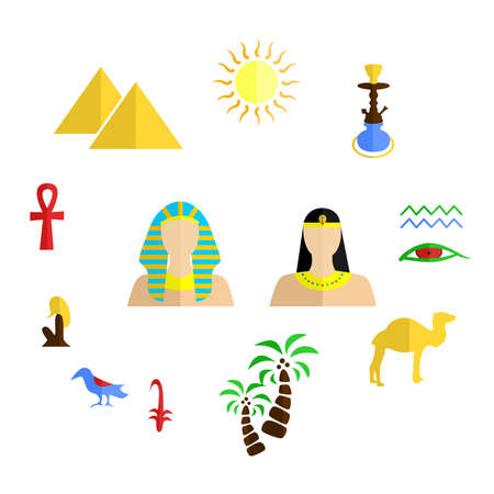 oasis: set of icons in the style of a flat design on the theme of egypt.