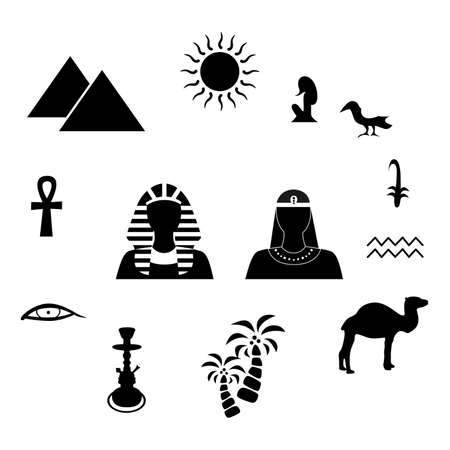 cleopatra: set of icons in the style of a flat design on the theme of egypt.