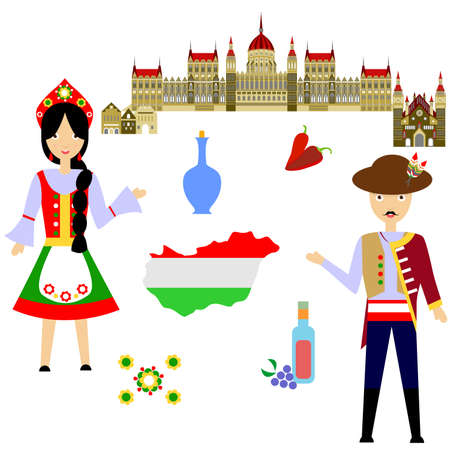 illustration in style of flat design on the theme of hungary. Illustration