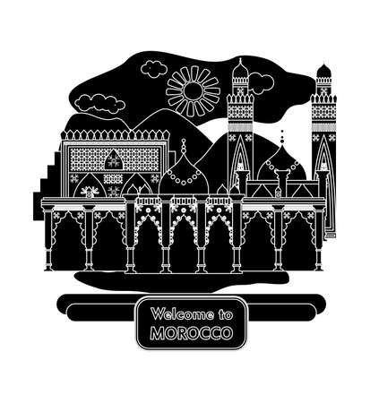 pilgrimage: illustration in the style of a flat design on the theme of morocco.