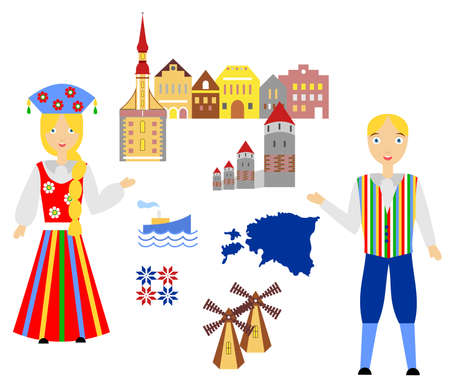 illustration in style of flat design on the theme of estonia.