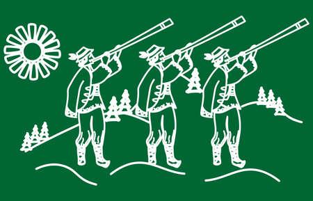 Iillustration de los Cárpatos y los hombres en el estilo de Ucrania. Ilustración de vector