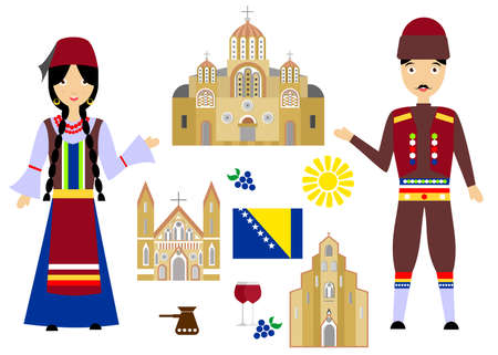 illustration in style of flat design on the theme of Bosnia and Herzegovina. Illustration