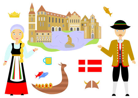 illustration in the style of a flat design on the theme of denmark.