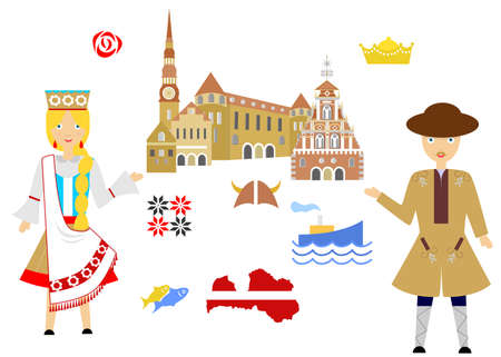 Set in the style of a flat design on the theme of latvia. Illustration