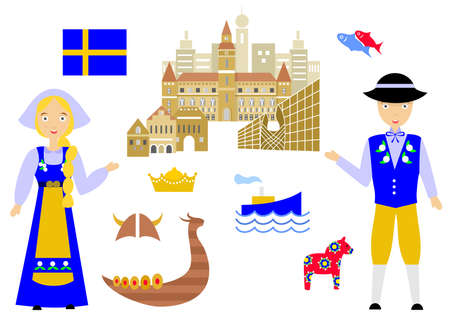 souvenir: set in the style of a flat design on the theme of sweden.