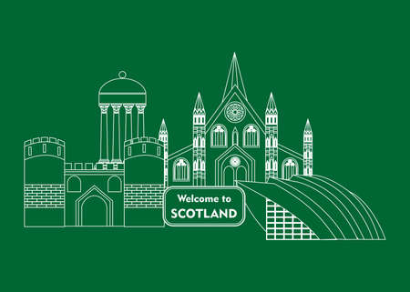 Set in the style of a flat design on the theme of scotland.