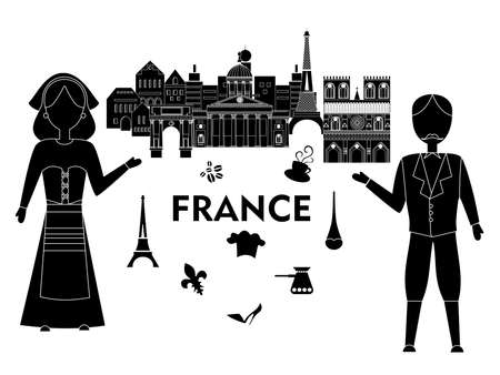frenchwoman: Illustration in the style of a flat design on the theme of France. Illustration