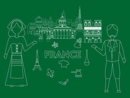 frenchwoman: Illustration in the style of a flat design on the theme of France in green.