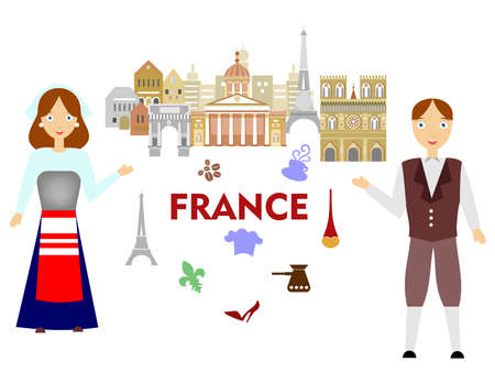 frenchwoman: Colored illustration in the style of a flat design on the theme of France. Illustration