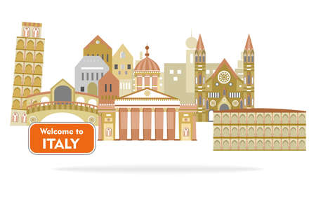 Set of icons in the style of a flat design on the theme of italy.
