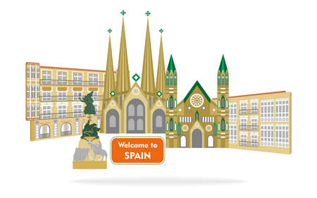 set of icons in the style of a flat design on the theme of spain. Illustration