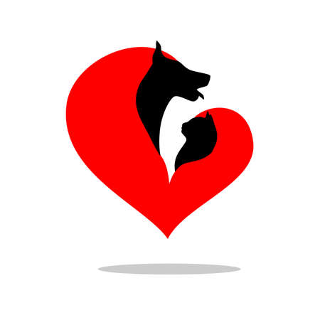 illustration of a cat and dog, decorated with heart shape.