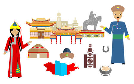 set in the style of a flat design on the theme of Mongolia. Illustration