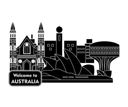 Set in the style of a flat design on the theme of Australia. Illustration