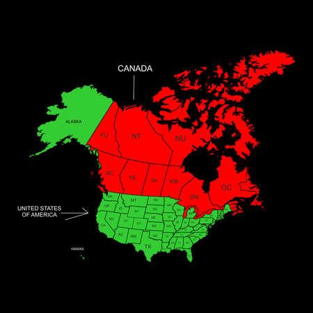 demografia: la ilustración: el mapa de Canadá y EE. UU. Vectores