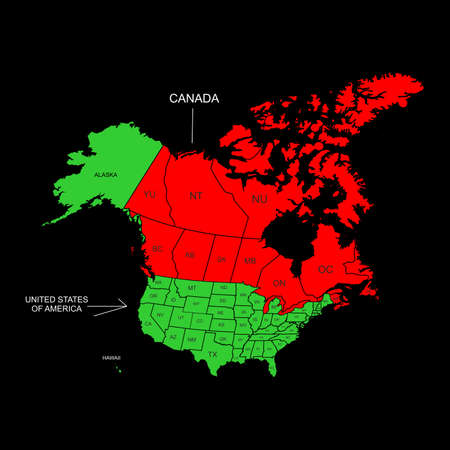 the illustration - the map of the Canada and USA. Illustration