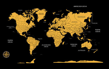 globalism: the illustration - the map of the world in German.