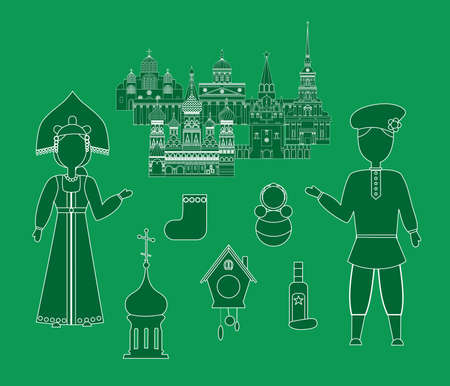 red square moscow: set in the style of a flat design on the theme of russia.