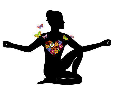 Meditatie meisje bloemen Stock Illustratie