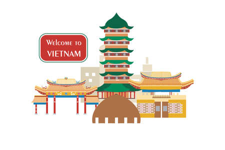 Illustration in style of flat design on a theme of Vietnam.