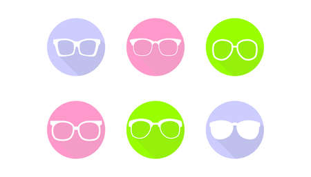 optician: Set of icons in the style of material design with different glasses. Illustration