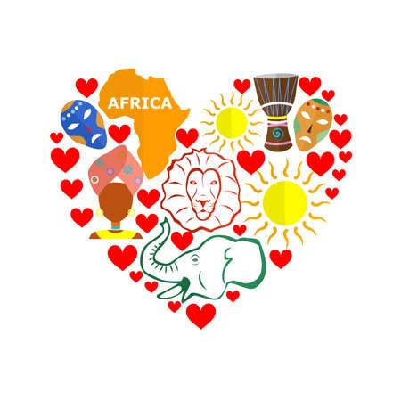 Fije en el estilo de un diseño plano en el tema de África.