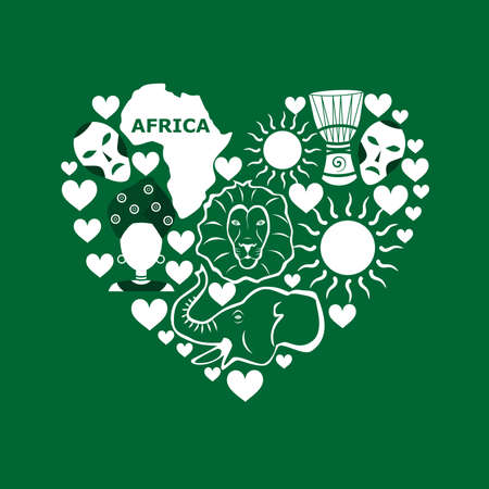 Set in the style of a flat design on the theme of Africa.