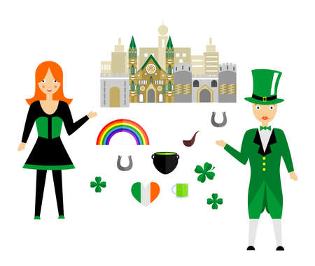 smoking woman: set in the style of a flat design on the theme of Ireland. Illustration