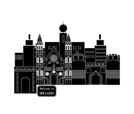 irish cities: set in the style of a flat design on the theme of Ireland. Illustration