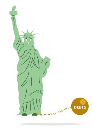 shackles: Illustration in the style of a flat design on the theme of economy of USA.