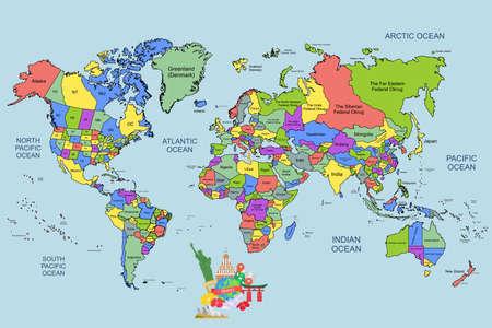demografia: Ilustración - mapa del mundo con algunos hitos.