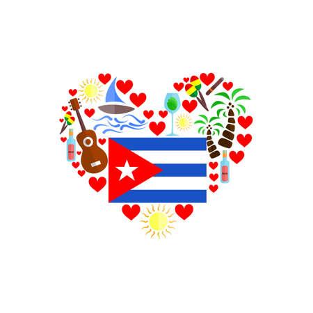 Fijado en el estilo de un diseño plano en el tema de Cuba.